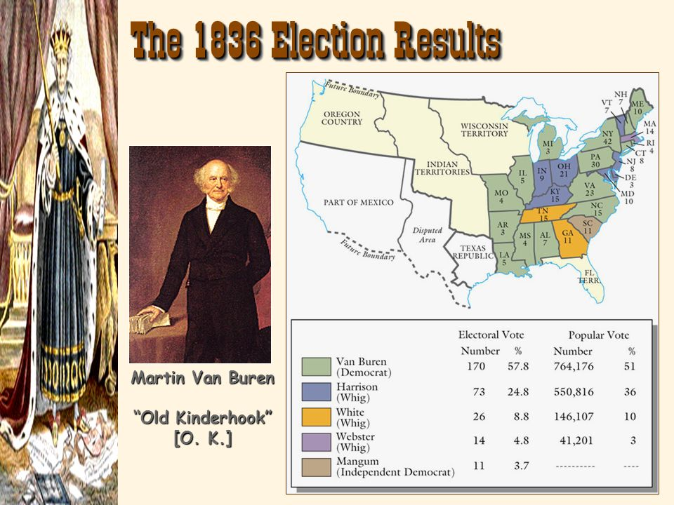 The 1836 Election Results Martin Van Buren Old Kinderhook [O. K.]